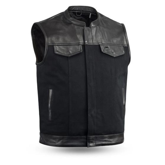 49/51 Men's Leather & Canvas Vest Combo - Up To Size 8XL- FIM4951CNV-C