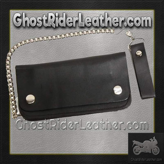 6 inch Black Leather Chain Wallet / Bifold / SKU GRL-AC50-DL