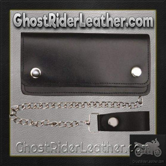 6 inch Black Leather Chain Wallet / Bifold / SKU GRL-AL3201-AL