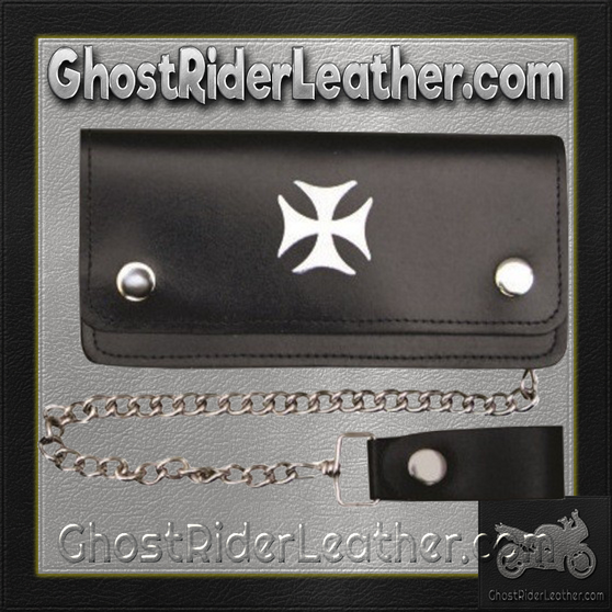 6 inch Black Leather Chain Wallet with Iron Cross / Bi-fold / SKU GRL-AL3283-AL