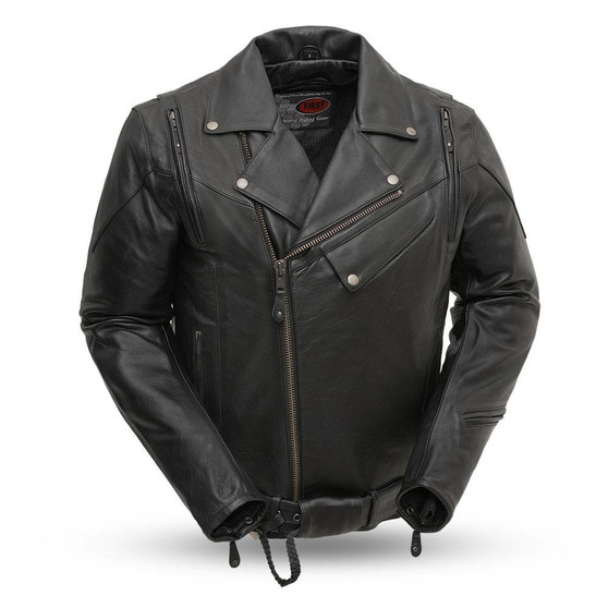 60's New Yorker Mens Leather Motorcycle Jacket - FIM210NOCZ