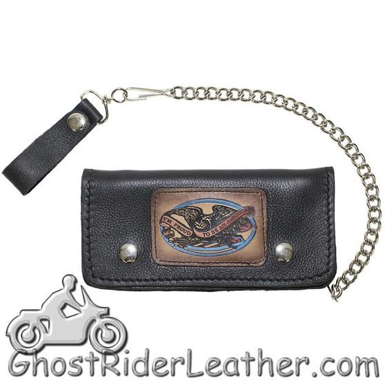 7.75 inch Heavy Duty Black Leather Chain Wallet - American Pride - Bifold - SKU GRL-WALLET3-11HD-DL
