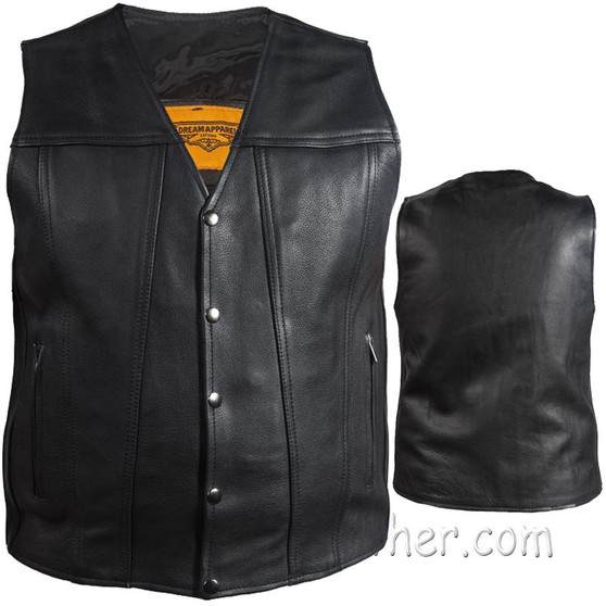 A Mens Classic Motorcycle Club Vest with Concealed Carry Pockets - SKU GRL-MV8014-DL