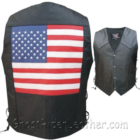 American Flag Leather Biker Vest with Side Laces - SKU GRL-AL2218-AL
