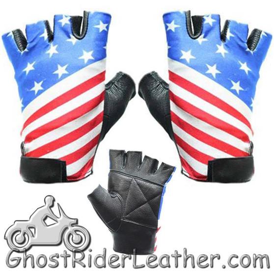 American Flag Riding Gloves - Fingerless Motorcycle Gloves - SKU GL2034-DL