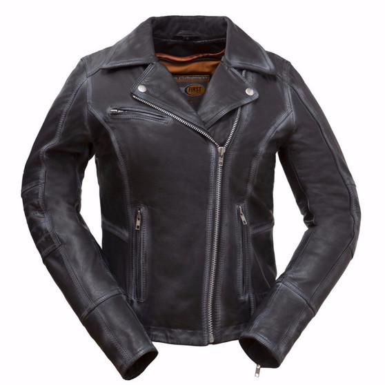 Arcadia - Women's Leather Motorcycle Jacket - FIL186CJZ