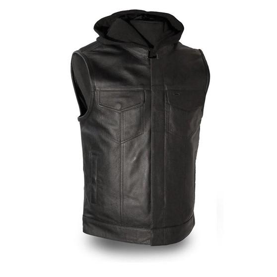 Assassin  |  Mens Leather Motorcycle Vest with Hood - GRL-FIM687CSL-FM