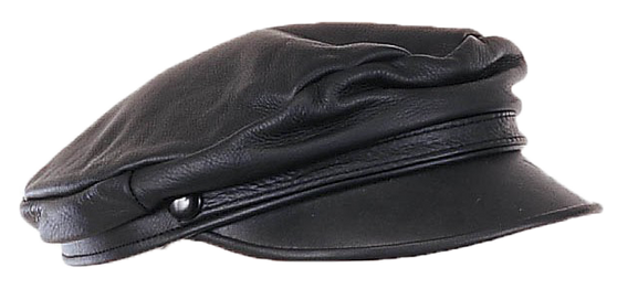 Biker Leather Cap - One Size Fits Most - SKU AC003-DL