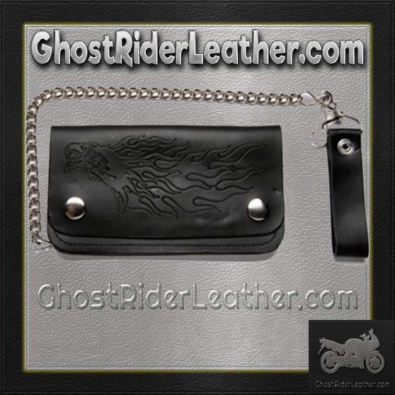 Black Leather Chain Wallet with Eagle and Flames Design / Bifold / SKU GRL-WALLET6-DL