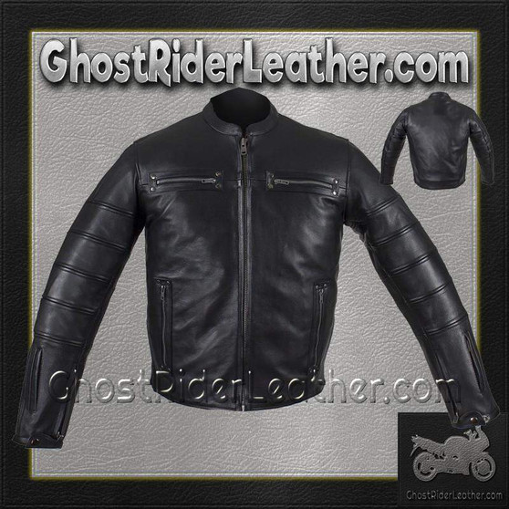 Black Pleated Racer Leather Jacket with Concealed Carry Pockets / SKU GRL-MJ828-DL