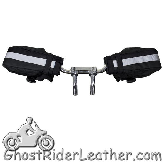 Black Polyester Motorcycle Handlebar Mitts - GRL-HW650-DL