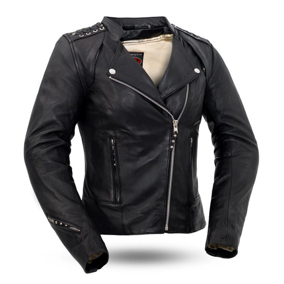 Black Widow - Women's Leather Motorcycle Riding Jacket - FIL191SDMZ