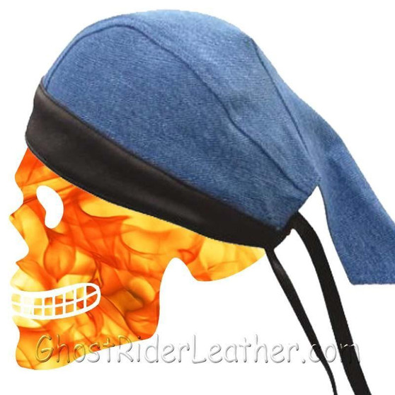 Blue Denim Skull Cap with Black Leather Trim / SKU GRL-AL3398-AL