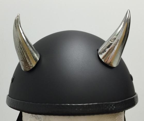 Bull Horns - Helmet Horns - Chrome Devil Horns - Motorcycle Helmet Accessories - SKU HA-20CH-HI