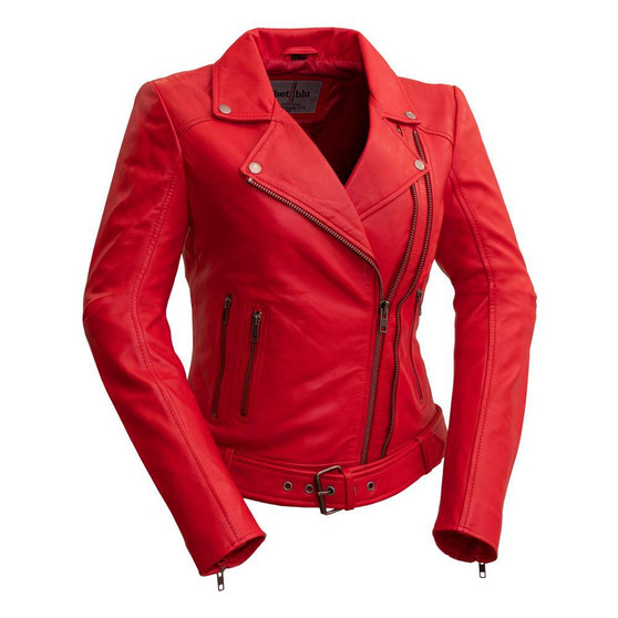 Chloe - Women's Red Fire Leather Motorcycle Jacket - Choice of 4 Colors - WBL1384