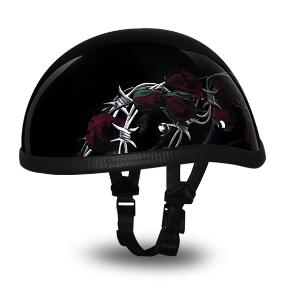 Daytona Eagle With Barbed Roses - Novelty Motorcycle Helmet - SKU GRL-6002BRO-DH