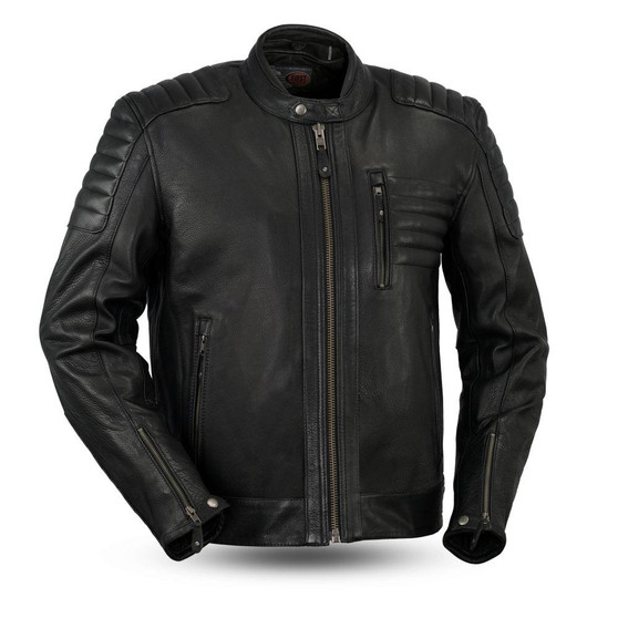 Defender - Men's Leather Scooter Jacket - SKU GRL-FIM293CHRZ-FM
