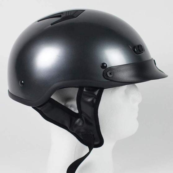 DOT Black Chrome Motorcycle Shorty Helmet - SKU GRL-1GM-HI