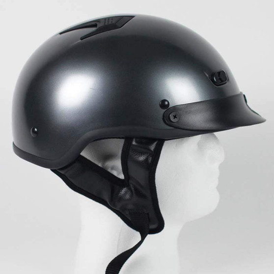 DOT Black Chrome Gun Metal Motorcycle Shorty Helmet - Biker Lid - SKU 1GM-HI