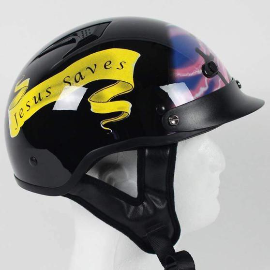 DOT Christian Cross Motorcycle Shorty Helmet - SKU GRL-1VPC-HI