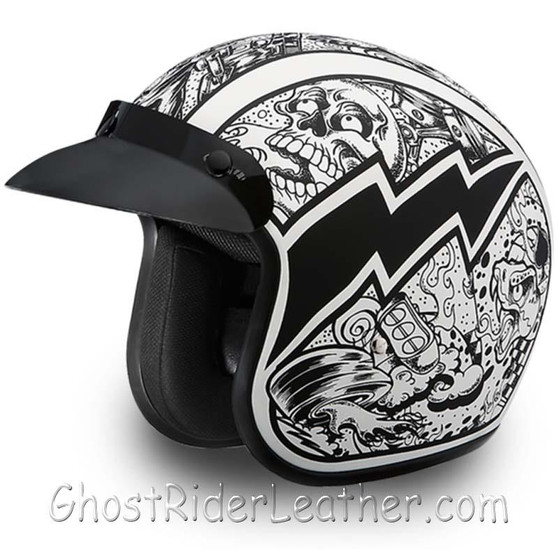 DOT Daytona Cruiser Graffiti Design Open Face Motorcycle Helmet - SKU GRL-DC6-G-DH