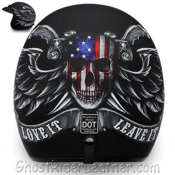 DOT Daytona Cruiser Love It Or Leave It Open Face Motorcycle Helmet - SKU GRL-DC6-L-DH
