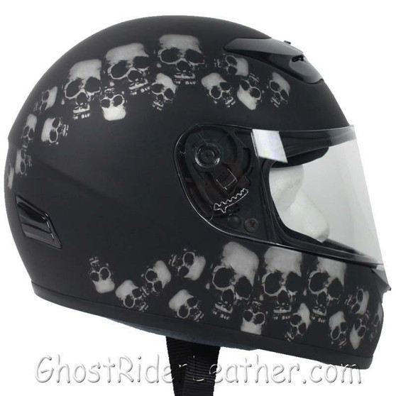 DOT Full Face Skull Pile Motorcycle Helmet - SKU GRL-RZ80SP-HI
