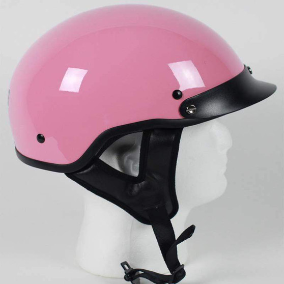 DOT Gloss Pink Motorcycle Shorty Helmet - SKU GRL-1P-HI