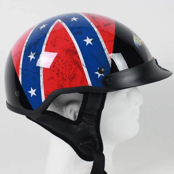 DOT Rebel Flag and Eagle Motorcycle Shorty Helmet - SKU GRL-1RF-HI