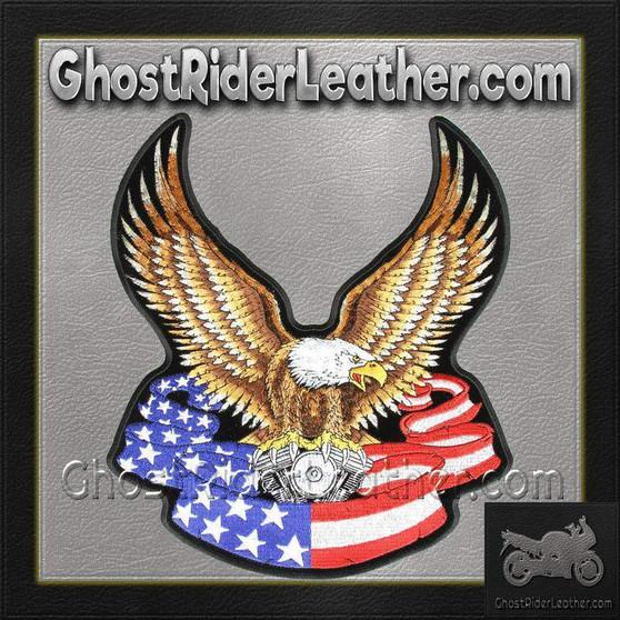 Eagle with V-Twin and American Flag Banner Vest Patch - Large - SKU GRL-PPA1097-HI