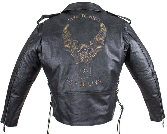Embossed Eagle Motorcycle Jacket with Side Laces and Live To Ride - SKU MJ703-SS-DL