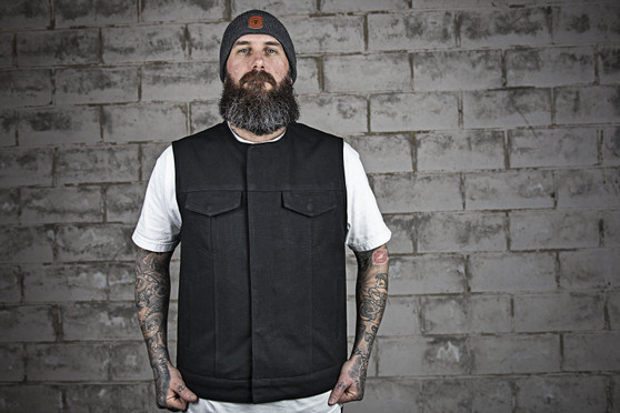 Fairfax - Men's Motorcycle Canvas Vest - SKU GRL-FIM637CNVS-FM