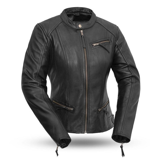 Fashionista - Women's Motorcycle Leather Jacket - FIL108CCBZ
