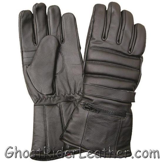Full Finger Leather Riding Gloves with Rain Cover and Zipper Pocket - SKU GRL-AL3051-AL