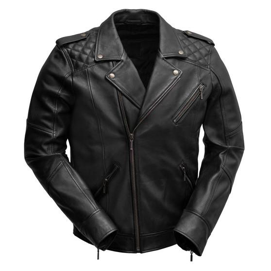Gavin - Men's Black Leather Motorcycle Jacket  - SKU WBM2812