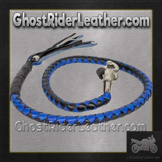 Get Back Whip in Black and Blue Leather - Motorcycle Accessories - SKU GRL-GBW2-11-DL