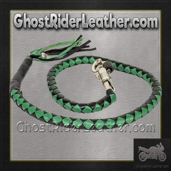 Get Back Whip in Black and Green Leather - Motorcycle Accessories - SKU GRL-GBW4-11-DL