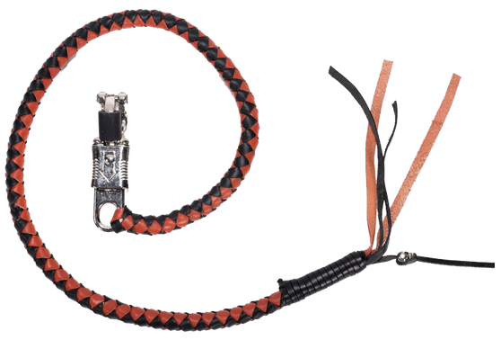 Get Back Whip in Black and Orange Leather - 36 Inches - SKU GBW9-DL
