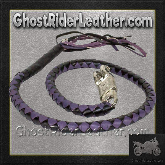 Get Back Whip in Black and Purple Leather - Motorcycle Accessories - SKU GRL-GBW10-11-DL