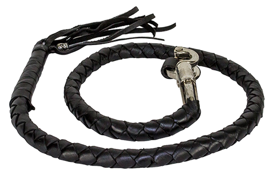 Get Back Whip - Black Leather - 42 Inches Long - SKU GBW1-11-DL