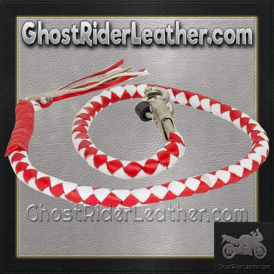 Get Back Whip in Red and White Leather - Motorcycle Accessories - SKU GRL-GBW12-11-DL