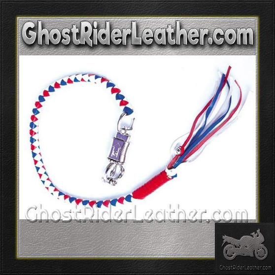 Get Back Whip in Red White and Blue Leather / SKU GRL-GBW11-DL