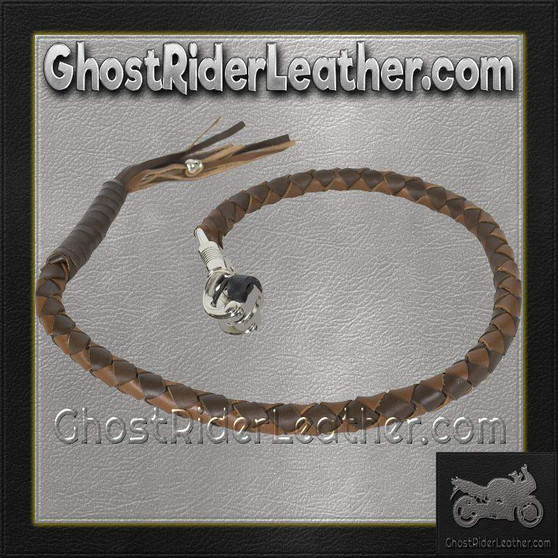 Get Back Whip in Two Tone Brown Leather - Motorcycle Accessories - SKU GRL-GBW18-11-DL