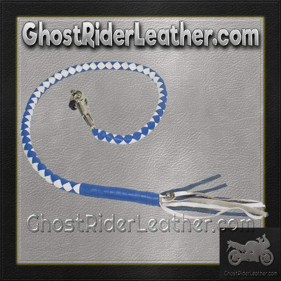 Get Back Whip in White and Blue Leather - Motorcycle Accessories - SKU GRL-GBW16-11-DL