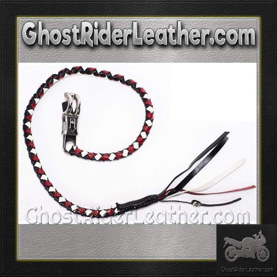 Get Back Whip in White Red and Black Leather / SKU GRL-GBW13-DL