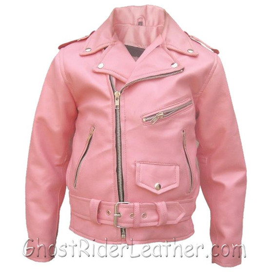 Girls - Kids Classic Biker Pink Leather Motorcycle Jacket - SKU GRL-AL2803-AL