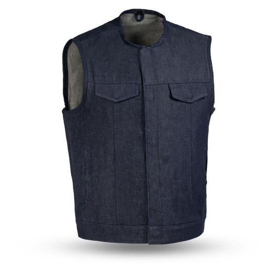 Haywood - Men's Blue Denim Motorcycle Vest