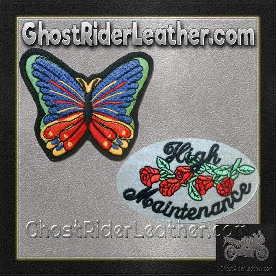 High Maintenance Patch and Butterfly Patches / SKU GRL-PAT-D612-D614-DL
