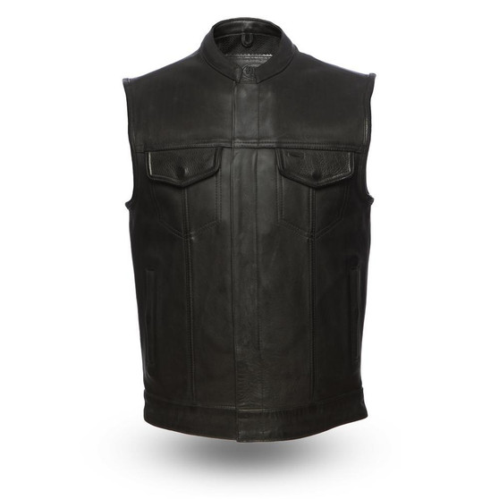 Hotshot - Men's Motorcycle Leather Vest - FIM686CPM