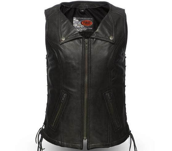 Jenni - Women's Zipper Front Leather Riding Vest - SKU GRL-FIL574SDM-FM